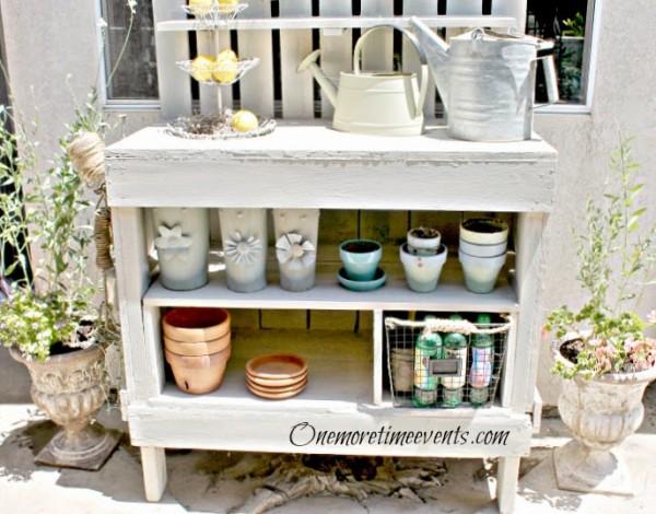 white potting bench makeover