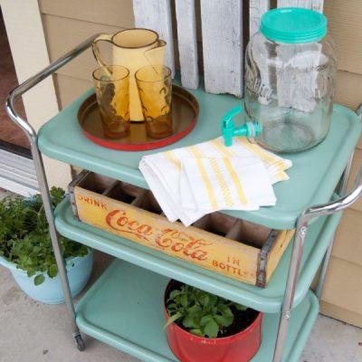 Outdoor Paint Project - Aqua Vintage Metal Drink Cart Makeover