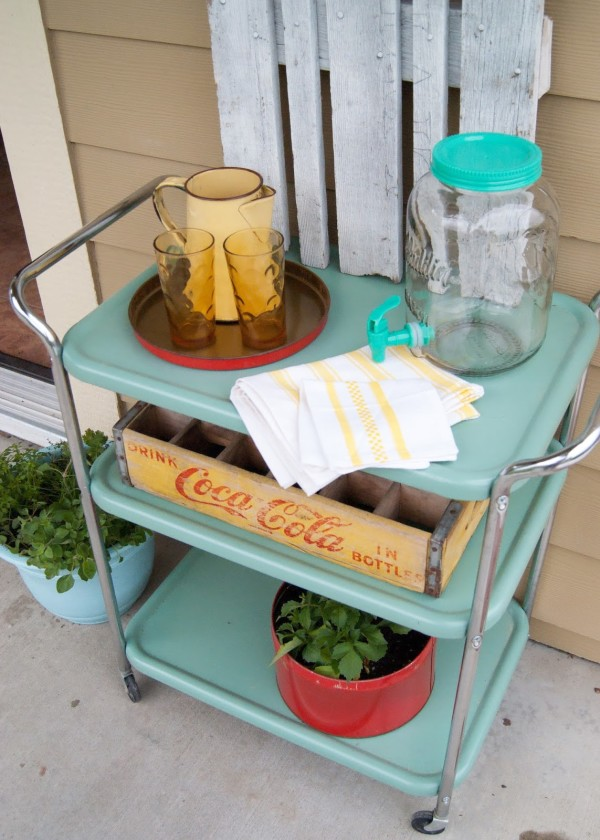 Outdoor Paint Project - Aqua Vintage Metal Drink Cart Makeover by Averie Lane