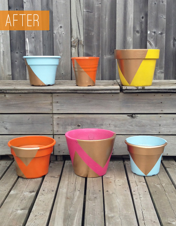 Paint Project - Bold and Gold Spray Painted Flower Pots