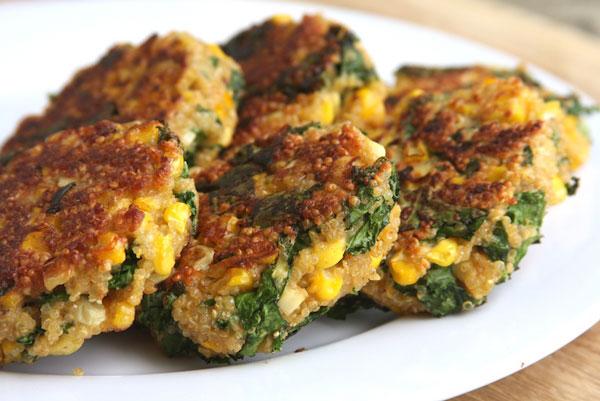 Kale and Fresh Corn Quinoa Patties