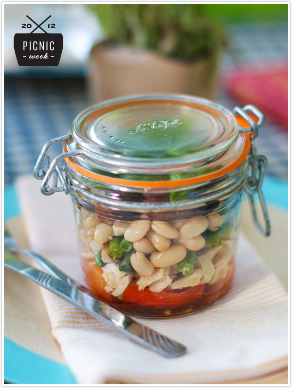 Jar Recipes to Take Along on Your Next Picnic - Nicoise Salad Mason Jar by Camille Styles