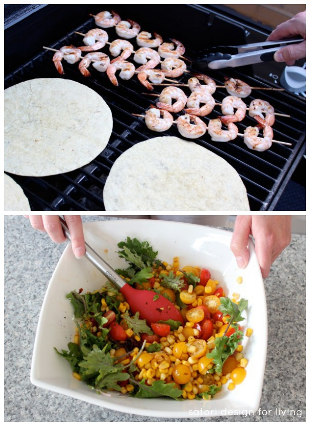 Shrimp Tacos with Toasted Chipotle Corn and Tomato Salad - Satori Design for Living