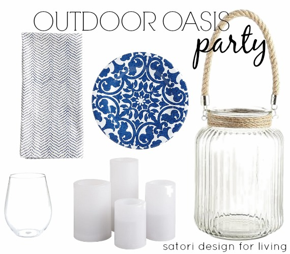 Outdoor Oasis Party Decor - Simple Blue and White Outdoor Table Decor - Satori Design for Living