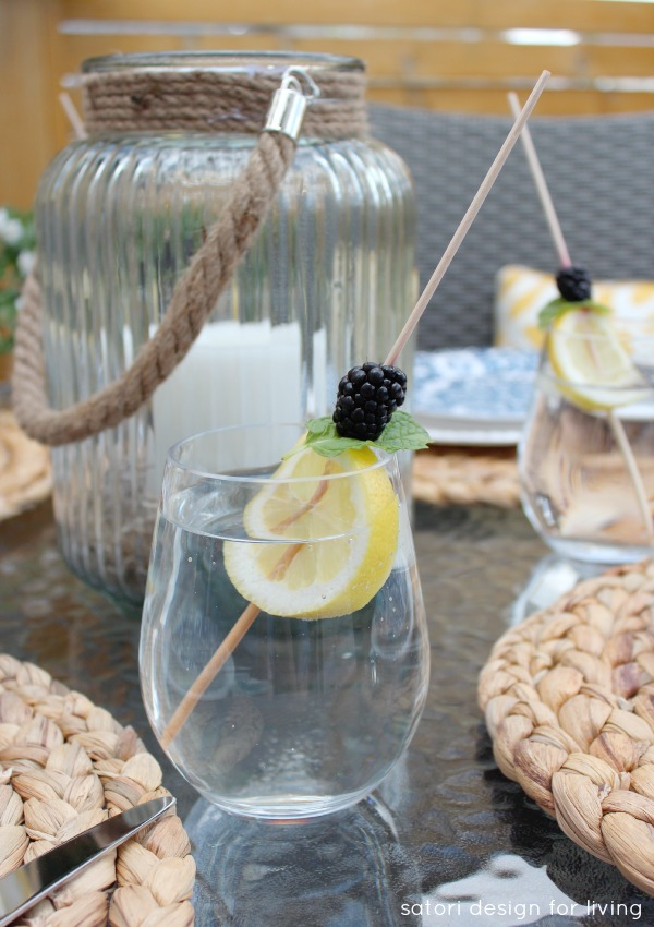 Water Glasses with Fresh Fruit Skewers - Satori Design for Living