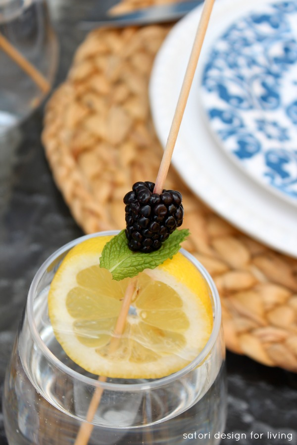 Cocktail Skewer with Lemon, Blackberry and Mint
