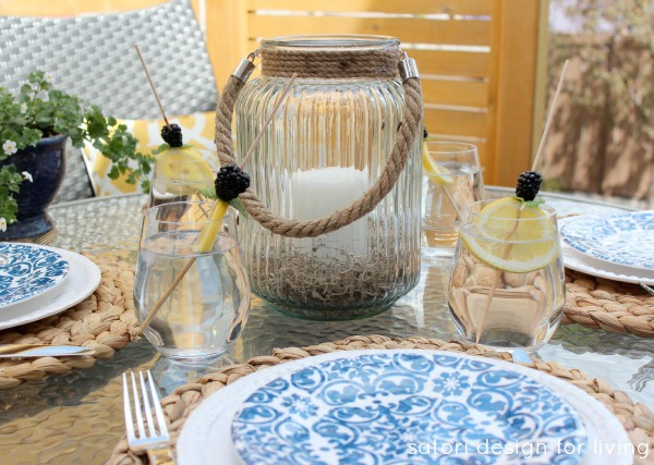 Outdoor Oasis Party with Coastal Blue and White Tablescape - Satori Design for Living
