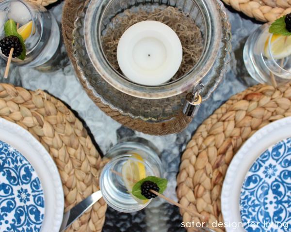 Outdoor Oasis Party - Blue, White and Natural Table Setting - Satori Design for Living