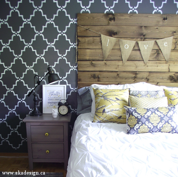 Sherwin Williams Peppercorn Walls with Stencilling - Bedroom AKA Design
