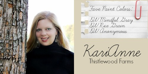 KariAnne - Thistelwood Farms - Favorite Paint Colors - SW Mindful Gray, SW Rice Grain, SW Anonymous