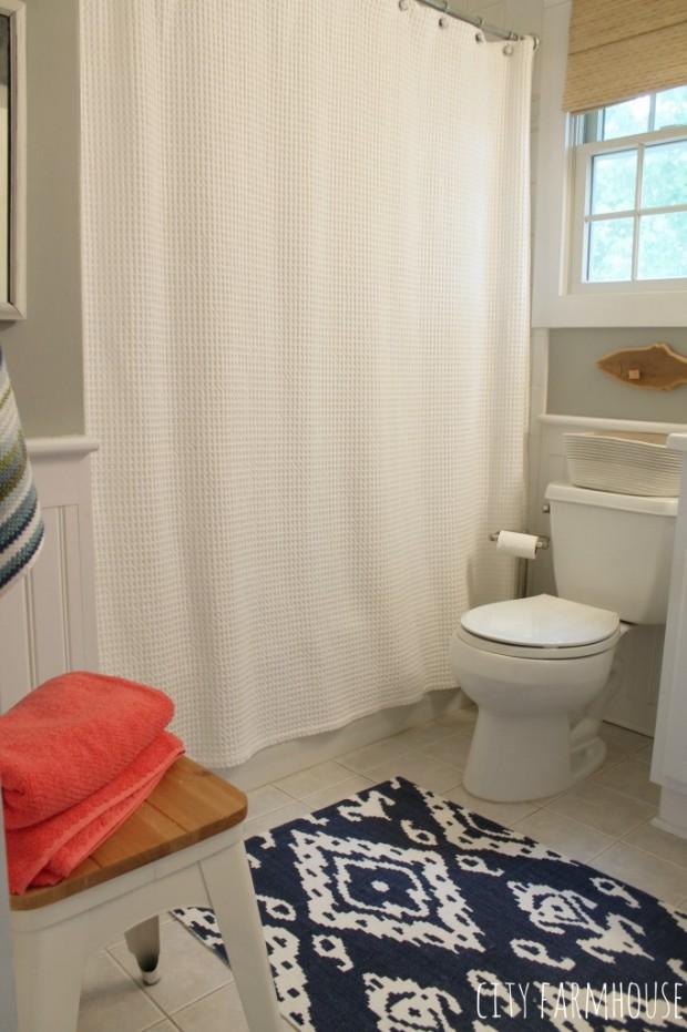 Preppy Coastal Bathroom Makeover - Walls Valspar Rope with Coral and Navy - City Farmhouse