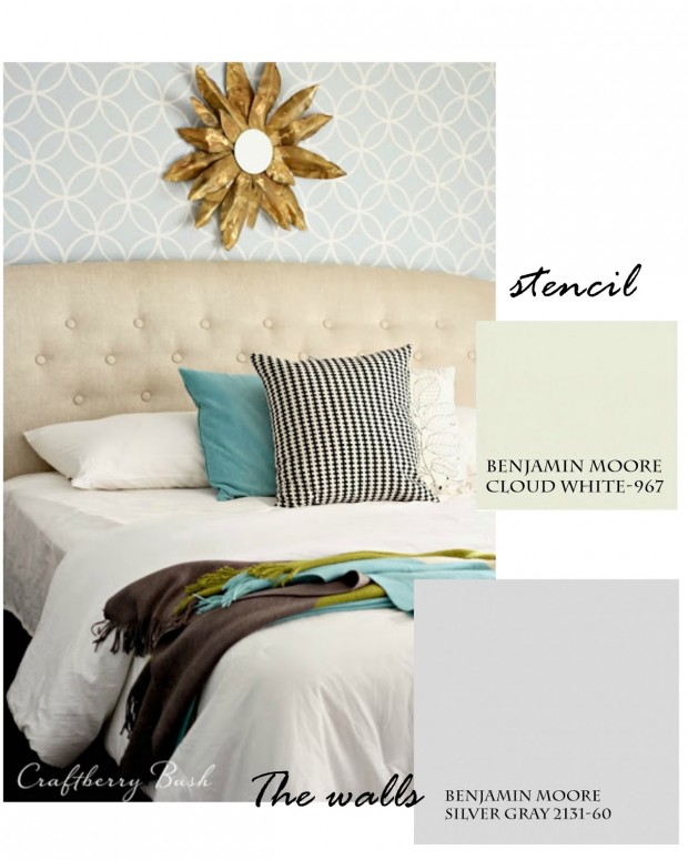 Bedroom Paint Colors - Craftberry Bush - Benjamin Moore Cloud White and Silver Gray
