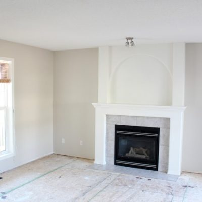 Benjamin Moore Baby Fawn OC-15 Living Room Walls with White Dove Trim | Satori Design for Living