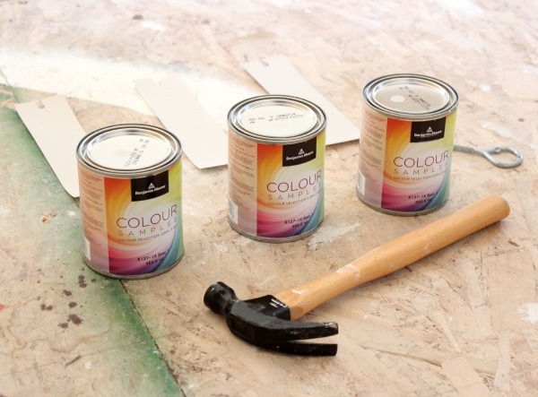 Benjamin Moore Paint Colour Samples for Living Room Makeover - Baby Fawn, Balboa Mist, Collingwood
