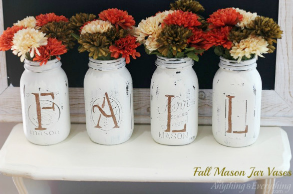 Fall Mason Jar Vases by Anything and Everything