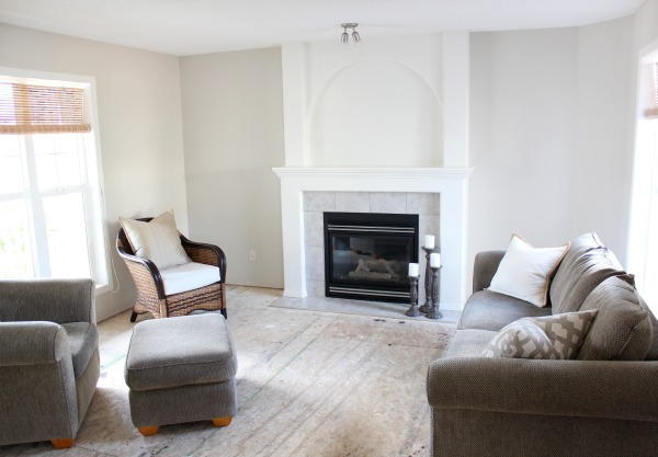 Benjamin Moore Living Room Paint Refresh with Baby Fawn OC-15 and White Dove - Satori Design for Living