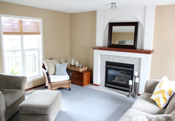 Benjamin Moore Living Room Paint Makeover BEFORE - From BM Stone House to Baby Fawn