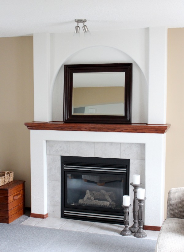 White Fireplace BEFORE with Arch and Textured Surface