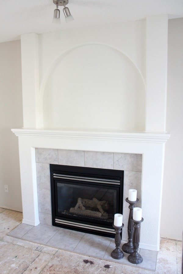White Dove Painted Fireplace PROGRESS