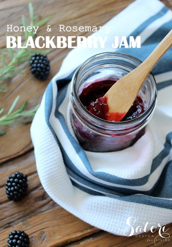 Homemade Honey and Rosemary Blackberry Jam in Mason Jar