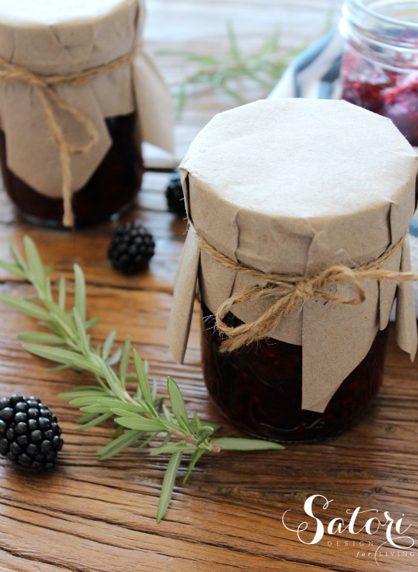 Blackberry Jam Recipe - Wrap in Craft Paper and Jute to Give Away - Satori Design for Living