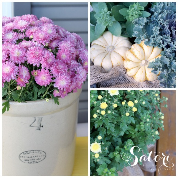Fall Front Porch with Garden Mums and Ornamental Kale - Satori Design for Living