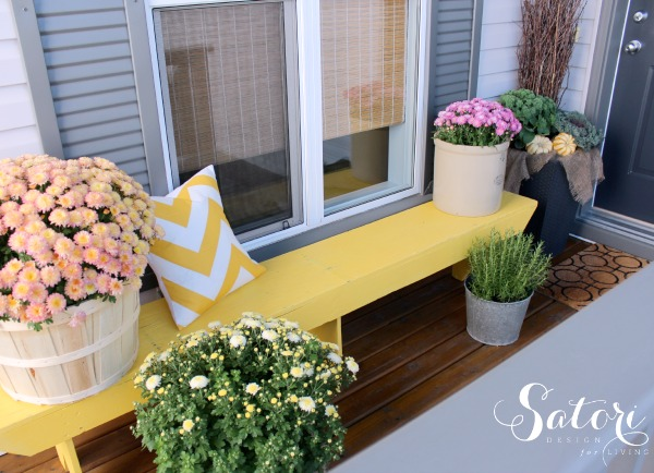 Warm Pink and Yellow Fall Front Porch Decor - Satori Design for Living