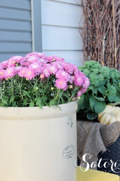 Decorated Fall Front Porch with Purple Garden Mum in a Vintage Crock - Satori Design for Living
