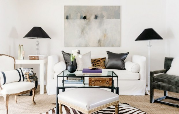 Living Room with Oversized Art - Ashley Goforth Design