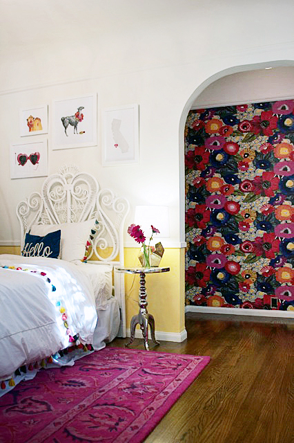 Girl's Room with Bold Floral Wallpaper - The Hunted Interior