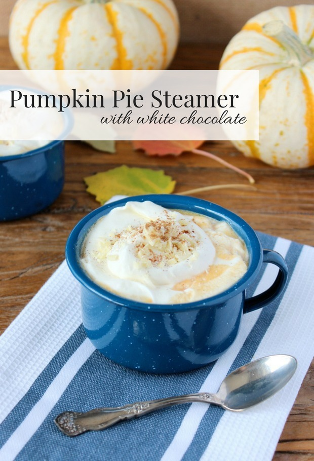 Pumpkin Pie Steamer Fall Drink in Blue Enamelware Mug