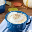 Skip the line-up and make your own white chocolate pumpkin pie steamer at home. The perfect treat for chilly fall days! Recipe details at SatoriDesignforLiving.com