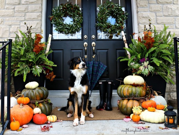 fall front porch decorating ideas - craftberry bush