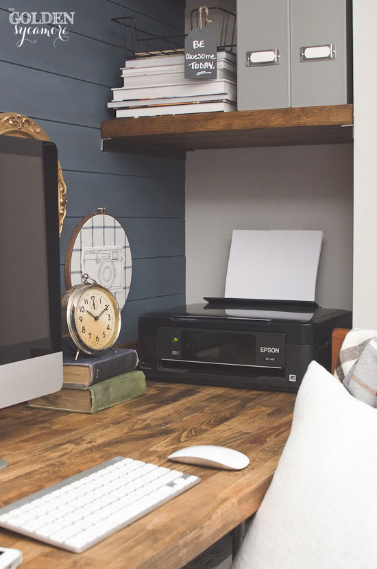 Office Nook with Wooden Shelves - The Golden Sycamore
