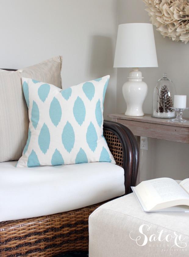 Chipper Village Blue Envelope Pillow Cover