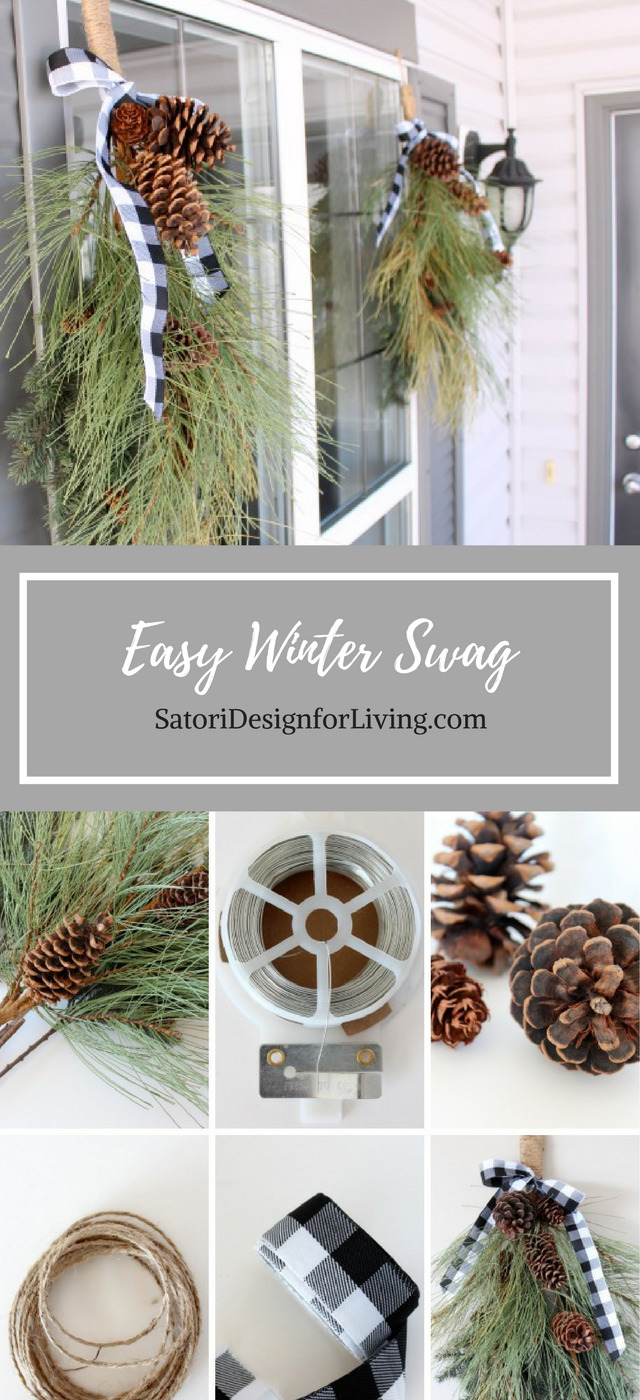Make this easy winter swag wreath to hang on your front porch well into the new year. A great way to extend the life of your outdoor Christmas decorations. Winter Front Porch - Holiday Front Porch Decor