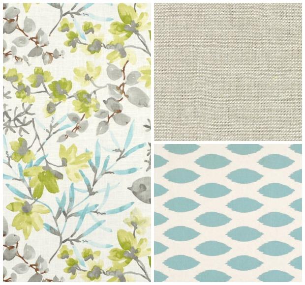 Living Room Fabrics from Online Fabric Store - Oatmeal Linen, Aqua Prints - Satori Design for Living