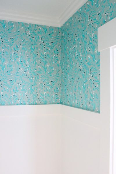 Want to update your powder room? Come take a look at the gorgeous and fresh turquoise floral wallpaper we installed from Spoonflower!