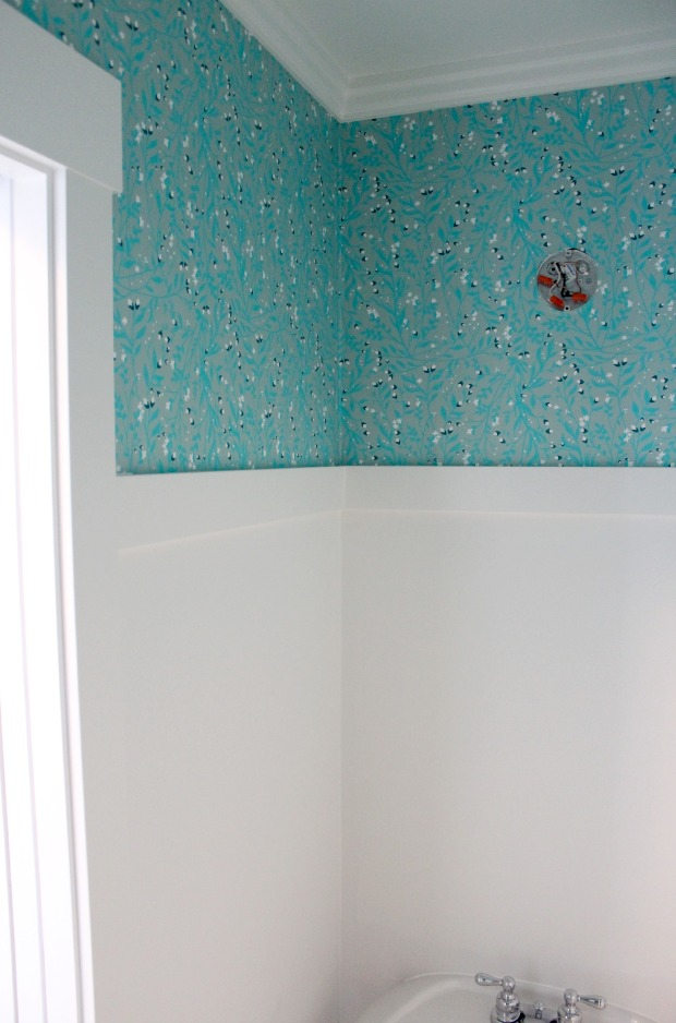 Powder Room Update - Installing Turquoise Floral Wallpaper with Benjamin Moore White Dove Trim in the Powder Room - Satori Design for Living