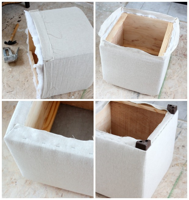 Recovered Ottoman Thrift Shop Makeover - How to Reupholster an Ottoman in Linen