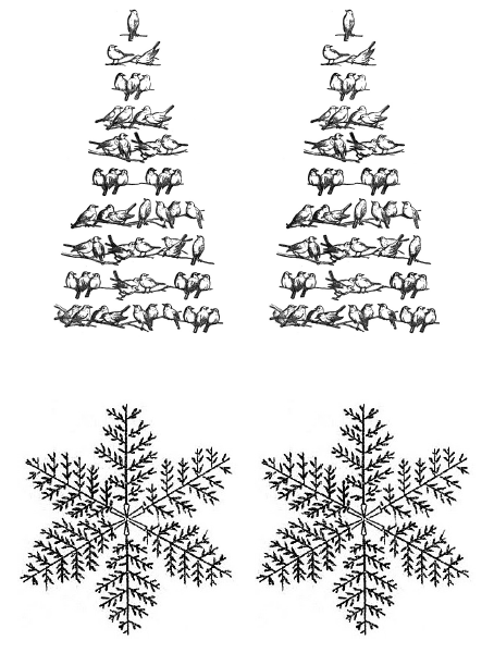 Vintage Christmas Gift Tags or Shabby Chic Ornaments - bird tree and hand drawn snowflake iron on transfer printables - Satori Design for Living