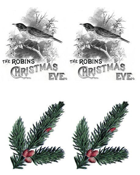 Vintage Christmas Gift Tags or Shabby Chic Ornaments - robin with holly & pine branch iron on transfer printables - Satori Design for Living