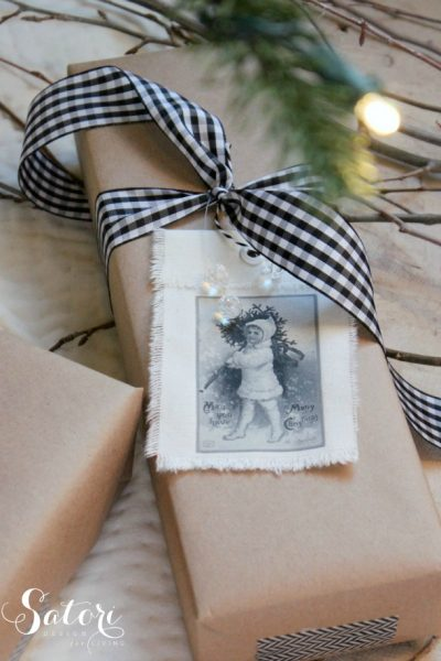 These vintage Christmas gift tags are an easy way to dress up plain kraft paper wrap. Get creative with the images you choose to print. So fun!