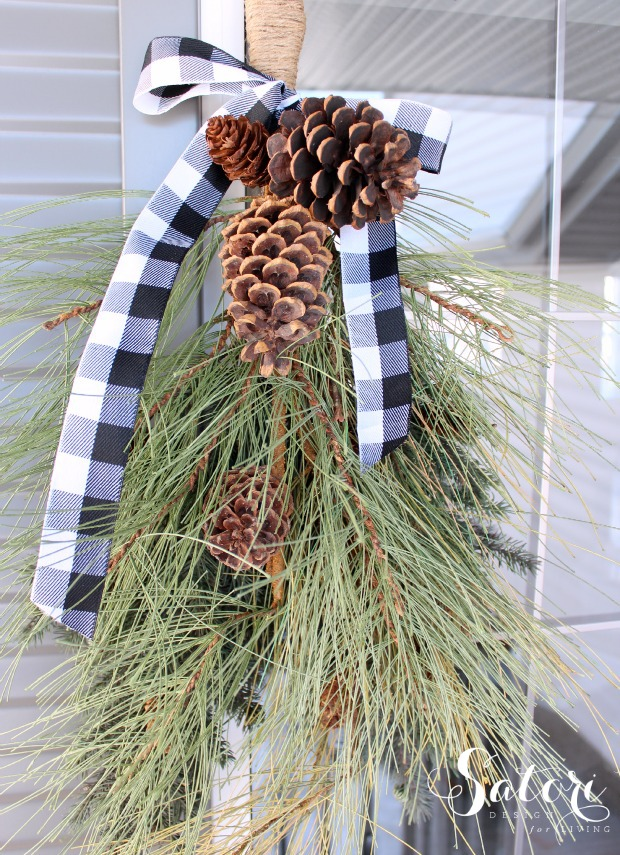 How to Make an Easy Winter Swag with Greenery and Pine Cones for Your Front Porch - Satori Design for Living