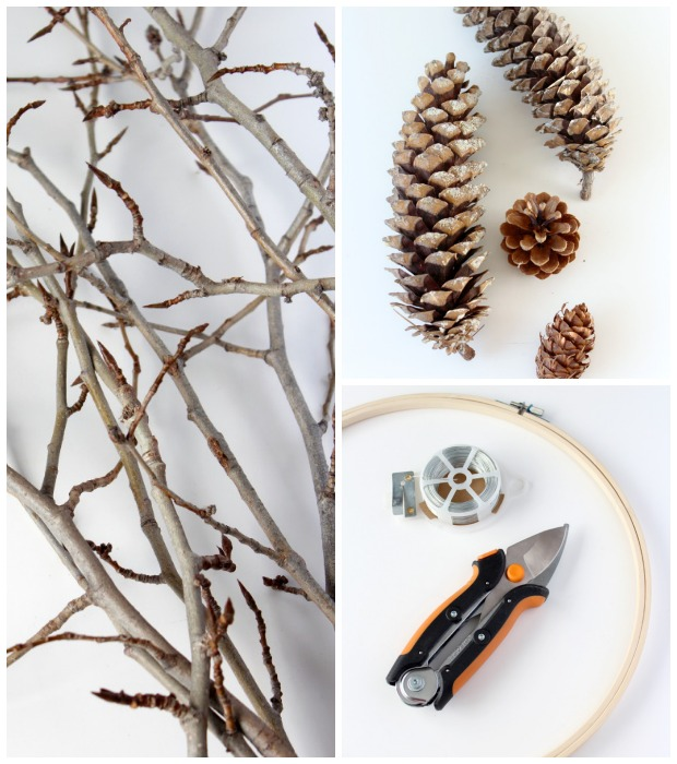 DIY Woodland Wreath Supplies - Twigs, Pinecones, Embroidery Hoop - Satori Design for Living