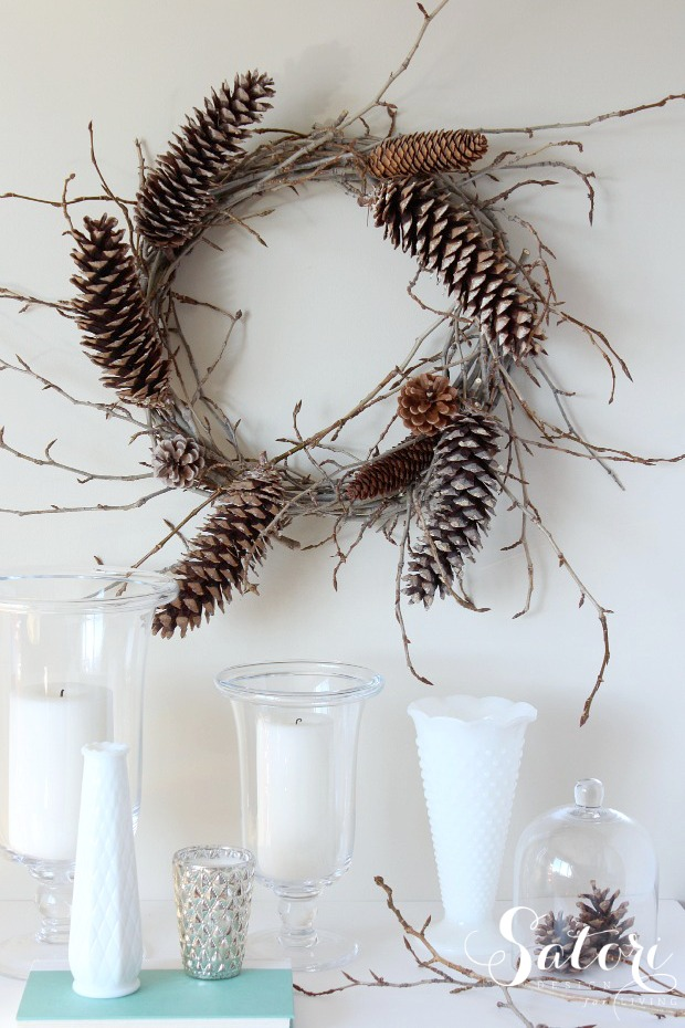 DIY Woodland Wreath with Twigs and Pine Cones - How to Make a Pine Cone Wreath - Satori Design for Living