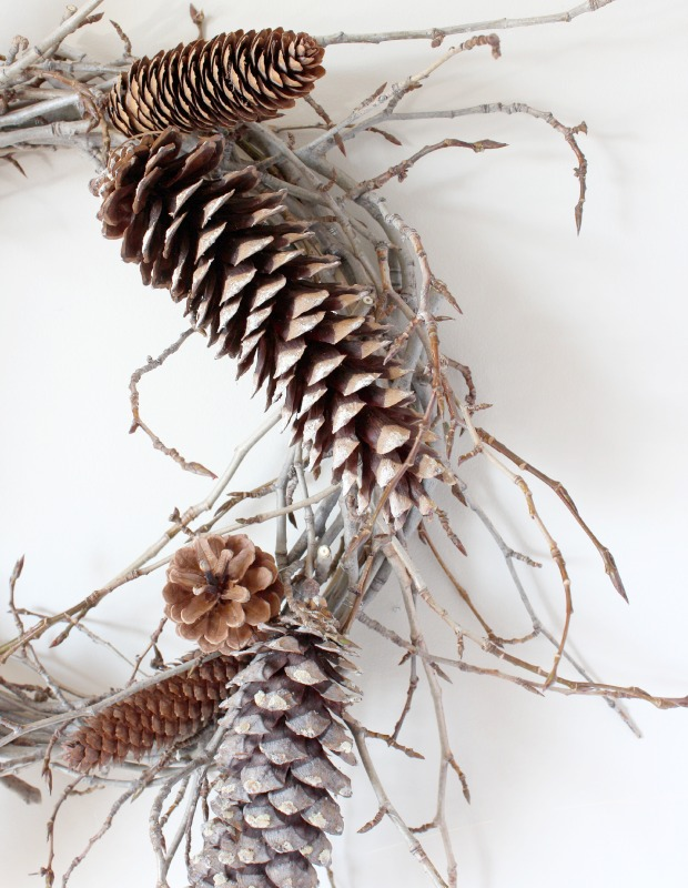 Woodland Wreath Tutorial - Pinecone and Twig Wreath - Satori Design for Living