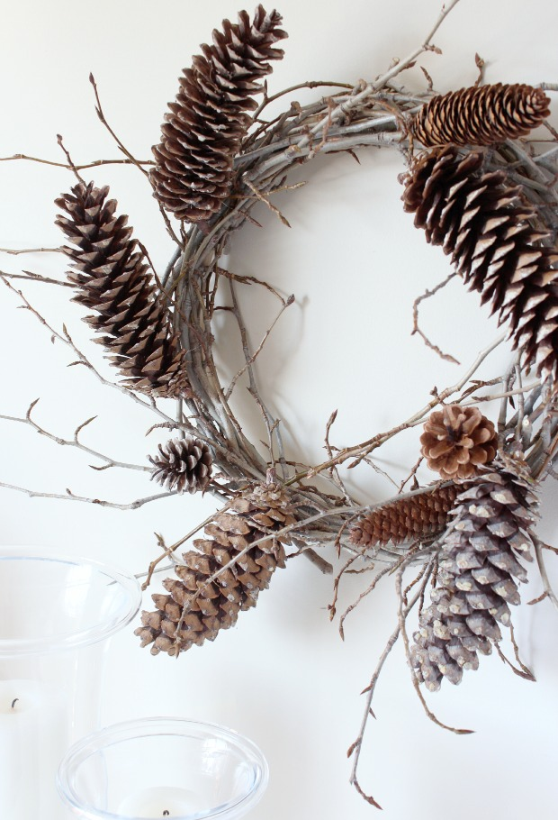 Fall Decorating Ideas Using Nature - Twig and Pinecone Fall Wreath - Satori Design for Living