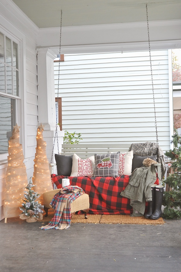 Christmas Inspiration - Rustic Front Porch with Swing - Liz Marie Blog