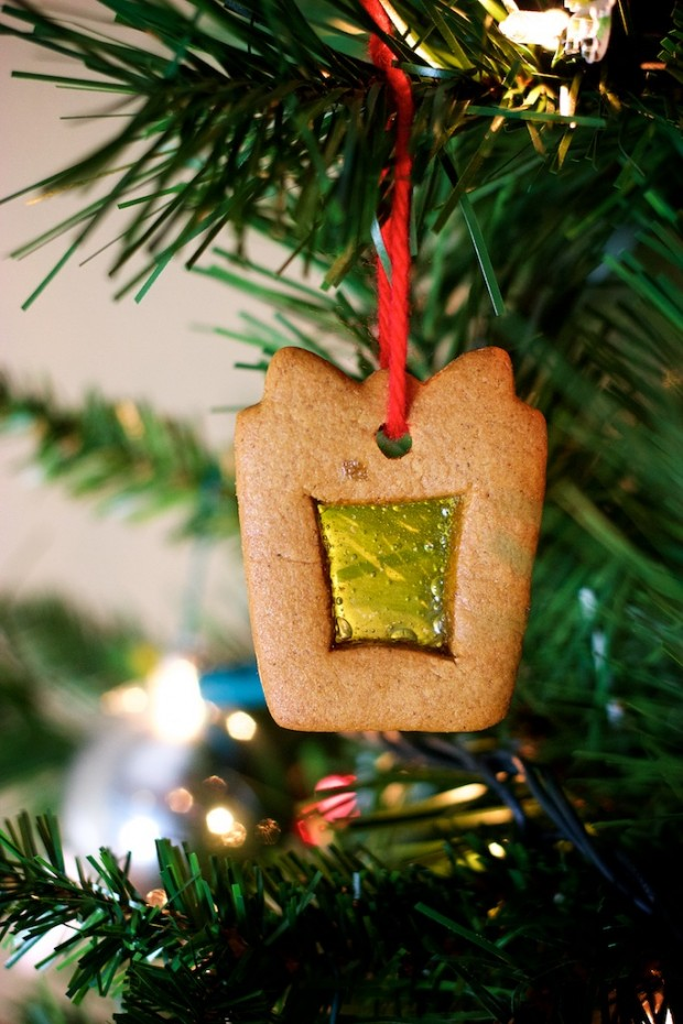 Gingerbread Cookie Ornaments with Stained Glass Cutouts